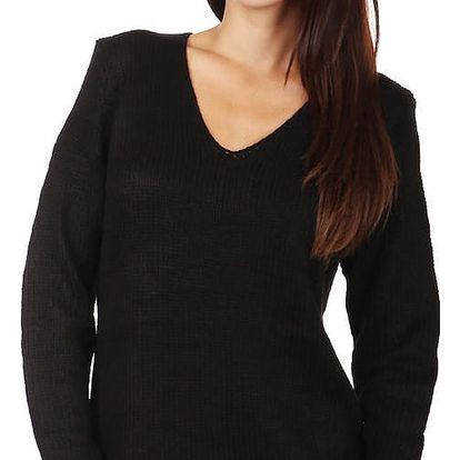 Pohodlný pletený svetřík s ornamenty na zádech černá