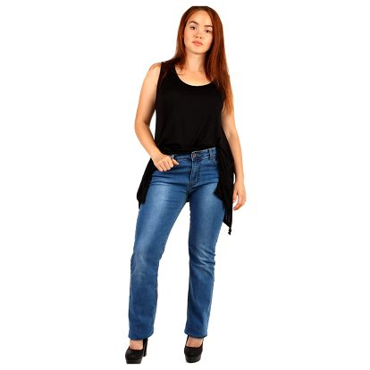 Rovné tmavé džíny pro plnoštíhlé
