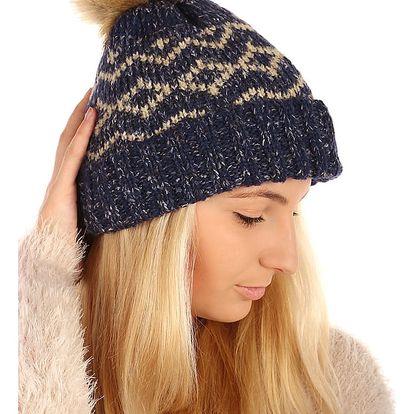 Vzorovaná pletená čepice hnědá