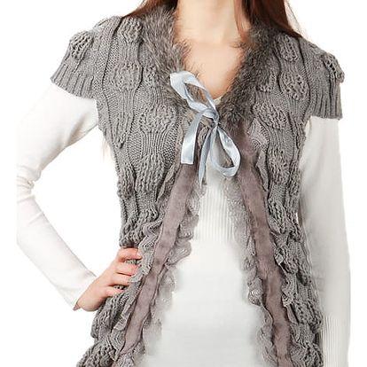 Dámská vesta s umělou kožešinou tmavě šedá