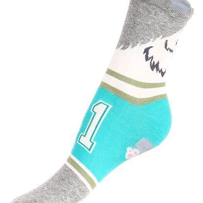 Proužkované ponožky se psem šedá