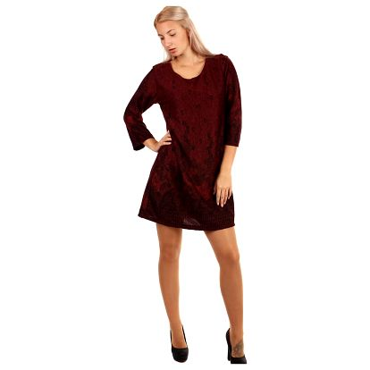 Vzorované šaty áčkového střihu - i pro plnoštíhlé červená