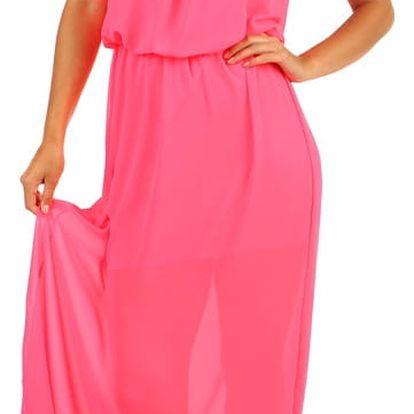 Dlouhé šifonové maxi šaty neon růžová