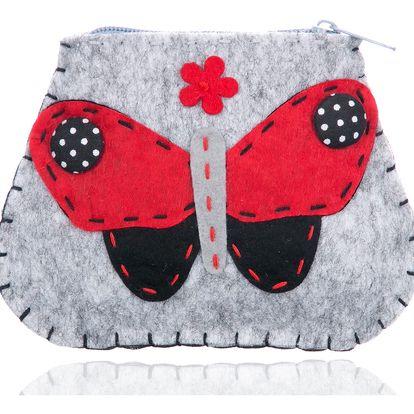 Fashion Icon Peněženka flísová Motýl ruční práce HANDMADE textil malá Retro PN0095-13