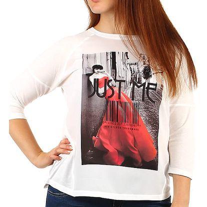 Bílé tričko s 3/4 rukávem a potiskem