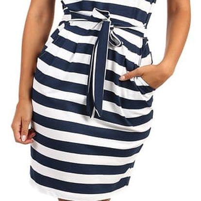 Pruhované letní šaty s páskem - II.jakost bílá