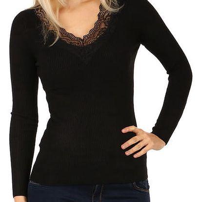 Dámské žebrované triko černá