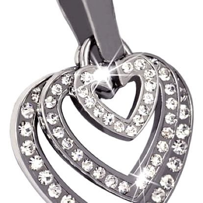 Přívěsek trojité srdce s kamínky - heart