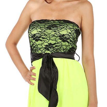 Asymetrické šaty s krajkou lososová