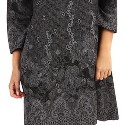 Vzorované šaty áčkového střihu - i pro plnoštíhlé šedá