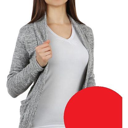 Stylový cardigan s dlouhým rukávem červená