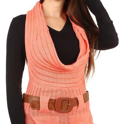 Dámská pletená vesta s páskem oranžová