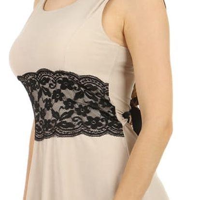 Úžasné šaty s krajkou v pase béžová
