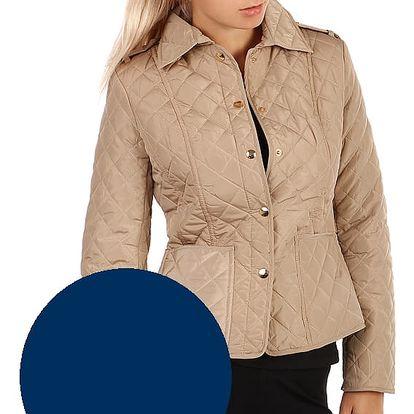 Lehká prošívaná bunda s límečkem tmavě modrá