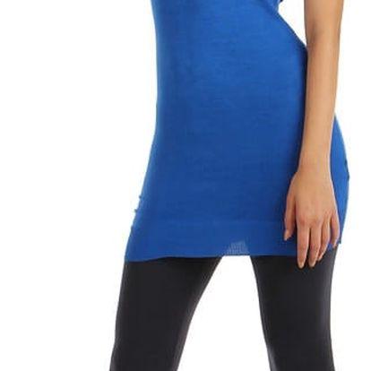 Dlouhý svetr s mašlemi na zádech modrá