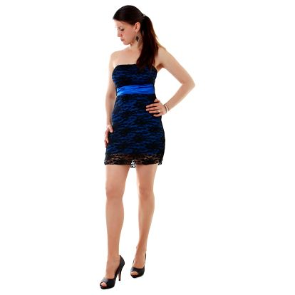 Dámské mini šaty s krajkou tmavě modrá