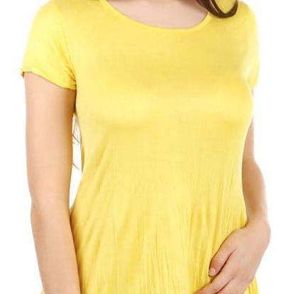 Dámské asymetrické tričko žlutá