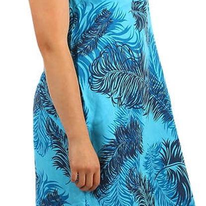 Volné letní šaty se vzorem - pro plnoštíhlé lososová