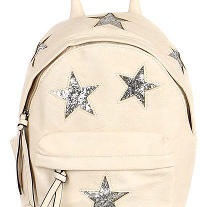 Koženkový batůžek se třpytivými hvězdami béžová