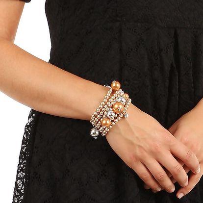 Široký náramek z malých perel bílá
