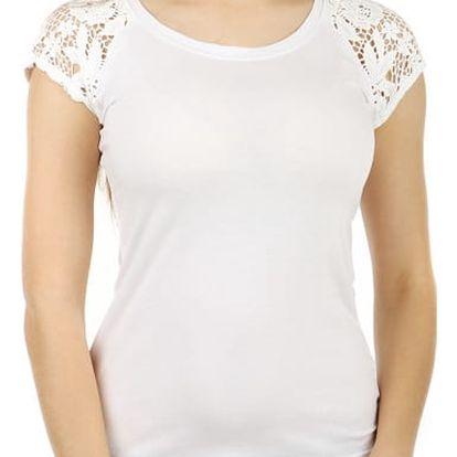 Dámské jednoduché tričko s krajkou bílá