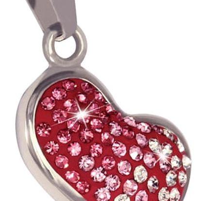 Přívěsek srdce s červenými a čirými kamínky
