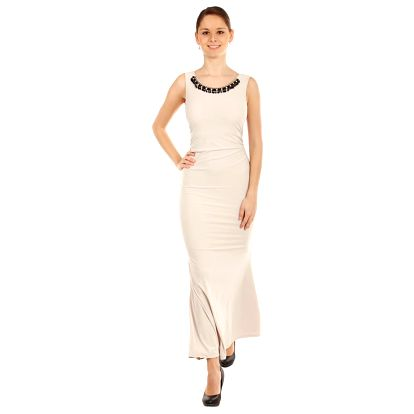 Dlouhé šaty s odhalenými zády béžová