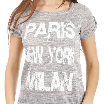 Žíhané triko s potiskem šedá