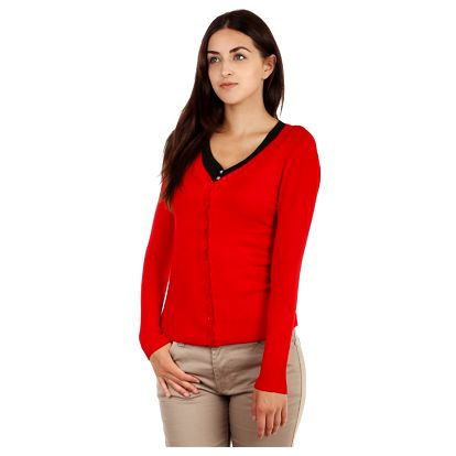 Elegantní propínací svetr červená