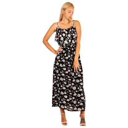 Dlouhé letní šaty s květinovým vzorem černá