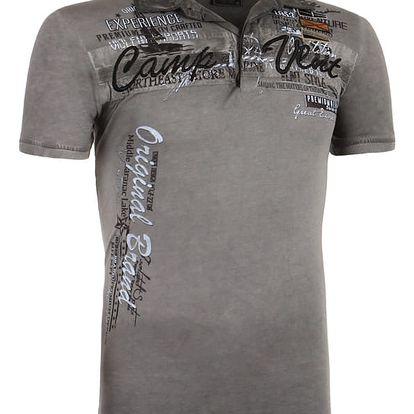 Pánské tričko s límečkem šedá