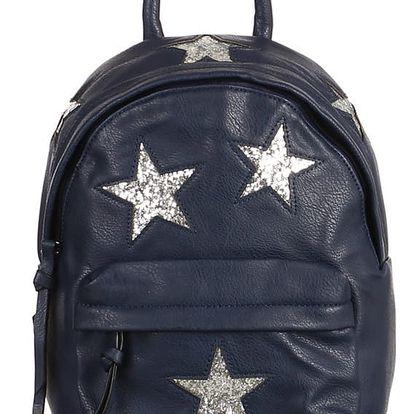 Koženkový batůžek se třpytivými hvězdami modrá