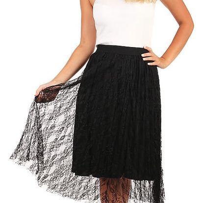Delší sukně s vrstvou krajky černá