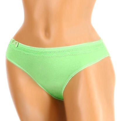 Jednobarevné dámské kalhotky s mašlí zelená
