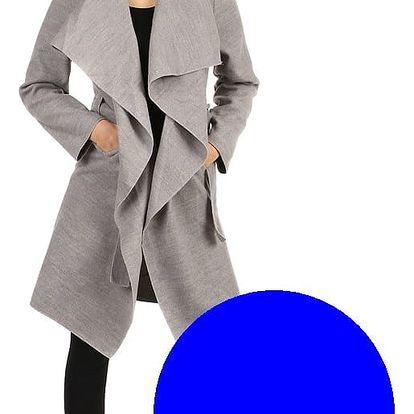 Dlouhý kabát - kardigan s páskem modrá