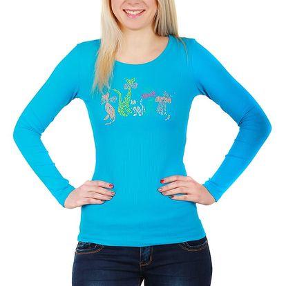 Tričko s kamínkovým potiskem modrá