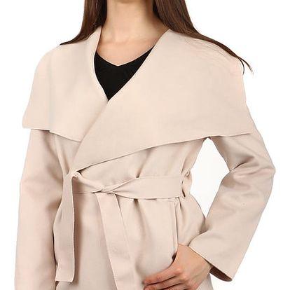 Dámský krátký kabátek s páskem krémová