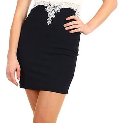 Pouzdrové šaty s krajkou v horní části černá