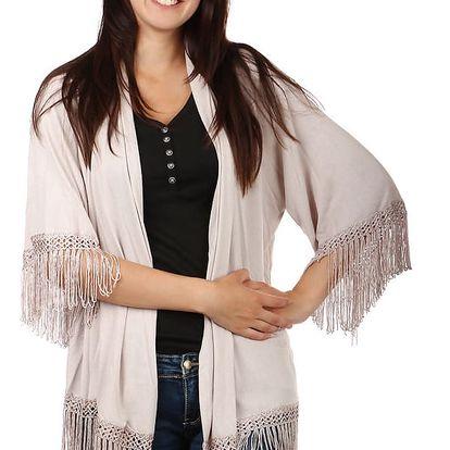 Volný svetřík, kardigan bez zapínání s třásněmi béžová