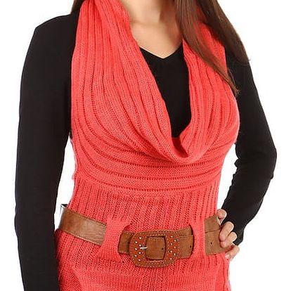 Dámská pletená vesta s páskem korálová
