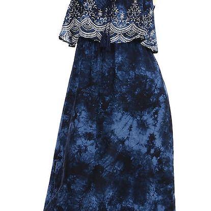 Batikované maxi šaty s potiskem II.jakost světle modrá