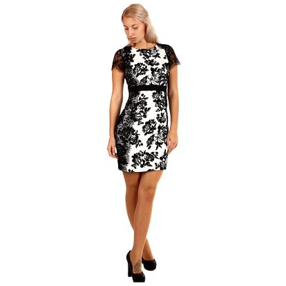 Černo-bílé šaty s krajkovými rukávy