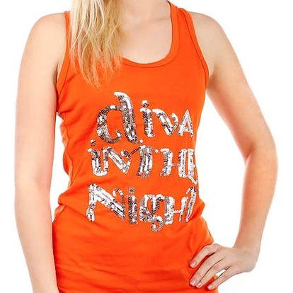 Dámské tílko s flitrovým nápisem oranžová