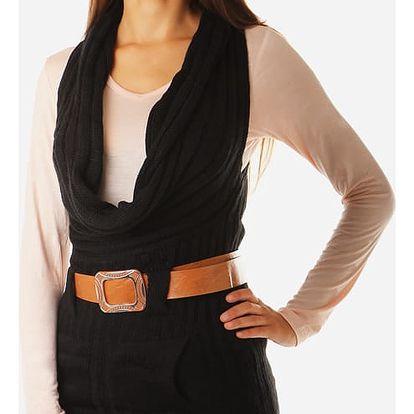 Dámská pletená vesta s páskem černá