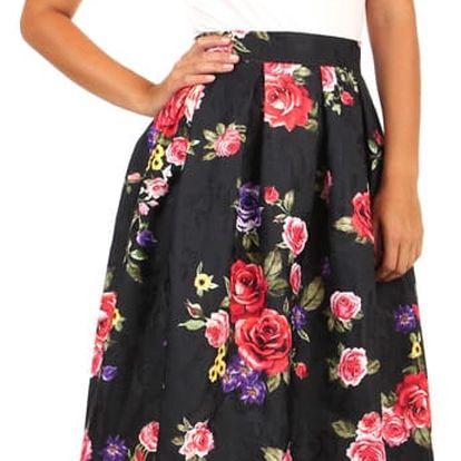 Černá áčková sukně s květinovým vzorem
