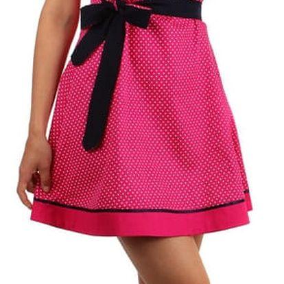 Retro šaty s puntíky a stuhou v pase růžová