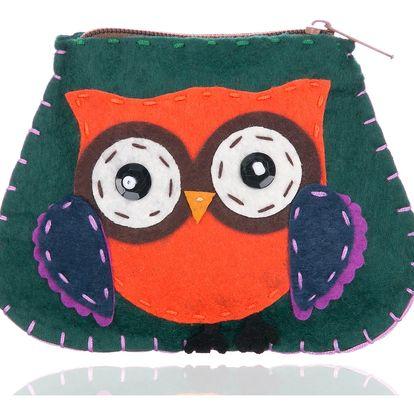 Fashion Icon Peněženka flísová Green Owl ruční práce HANDMADE sova