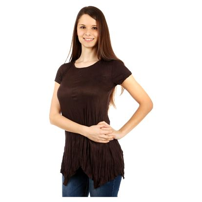 Dámské asymetrické tričko tmavě hnědá