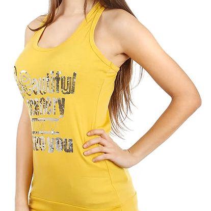 Dámské tílko s výrazným nápisem žlutá