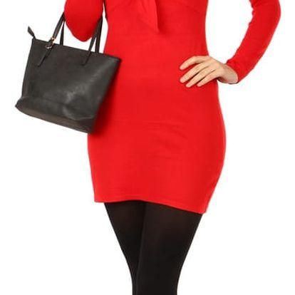 Dlouhý svetr/šaty s ozdobným uzlem červená